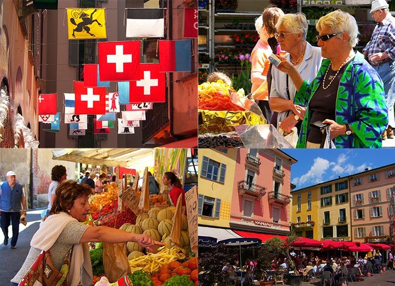 Lugano en markt Luino
