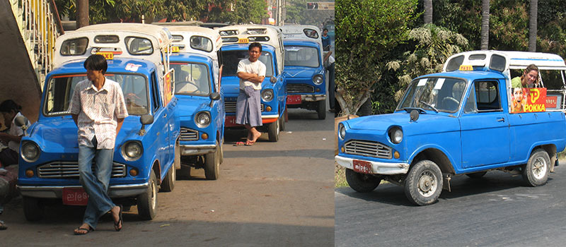 Myanmar kleine taxi-autootjes