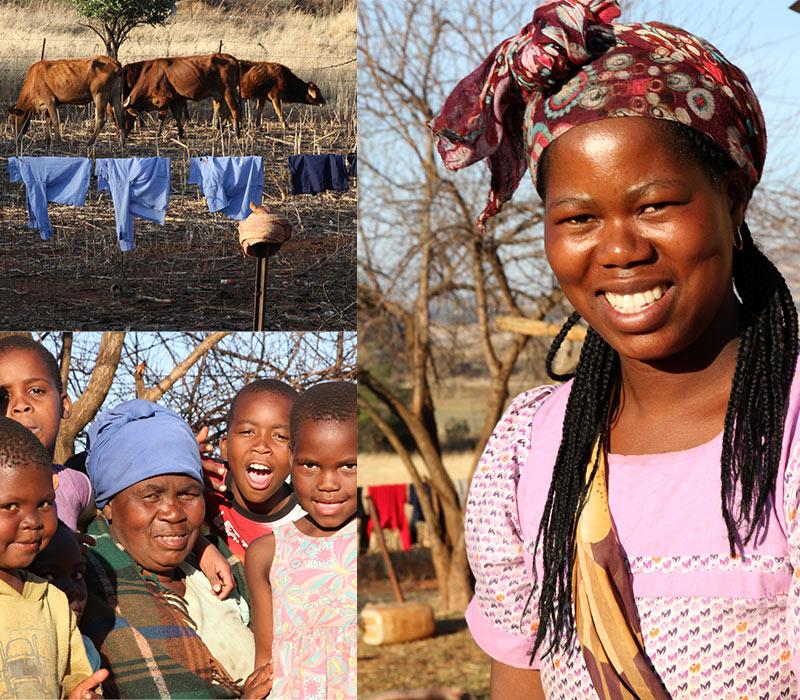 Zulu dorpje veel kinderen, veel was