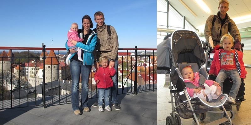 met het gezin op reis