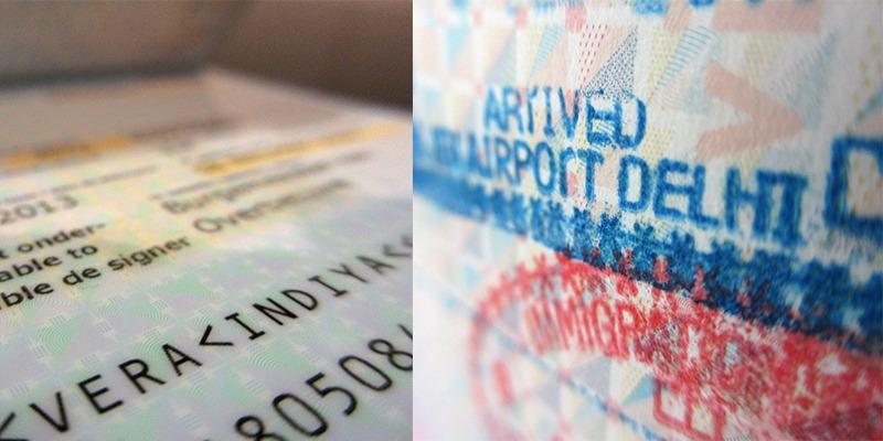 paspoort stempels Delhi Airport