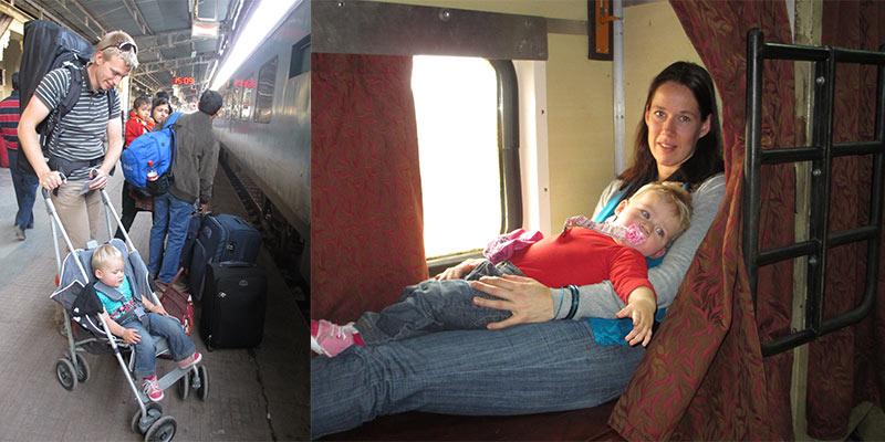 trein India met kinderen