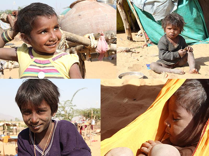 kinderen van zigeuners bij Pushkar