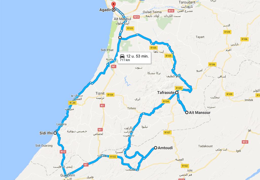 Anti Atlas route ingezoomd