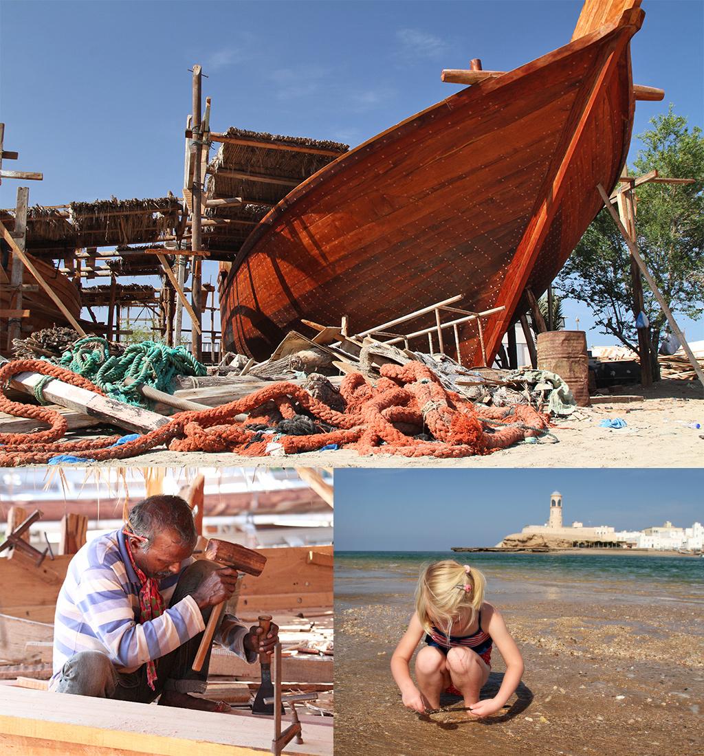 Dhow werkplaats en strand Sur Oman