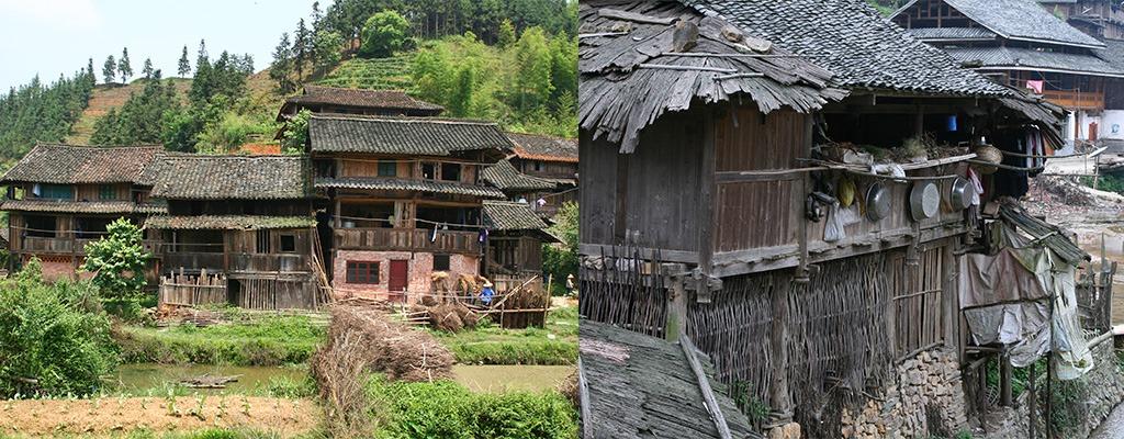 Dong dorpjes met zelfgebouwde houten huizen