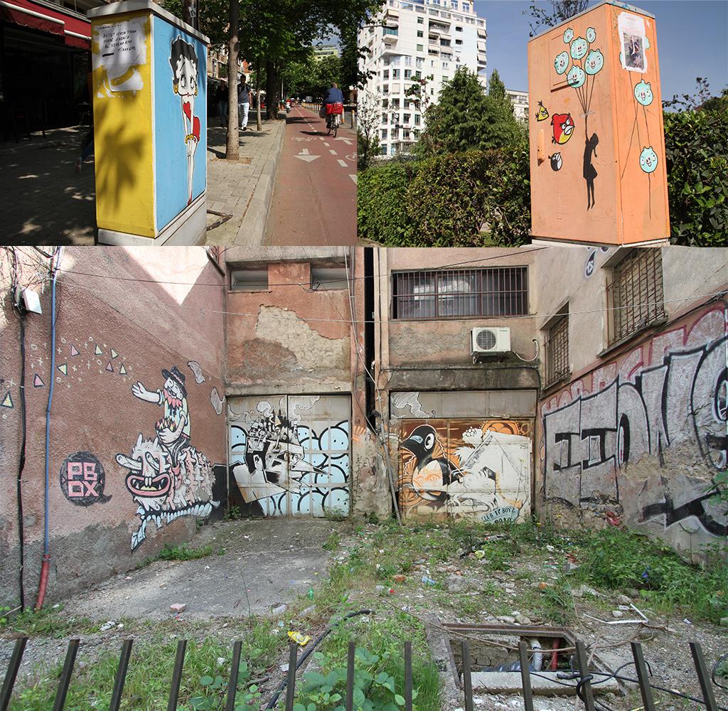 Georganiseerde en spontane kunst in Tirana