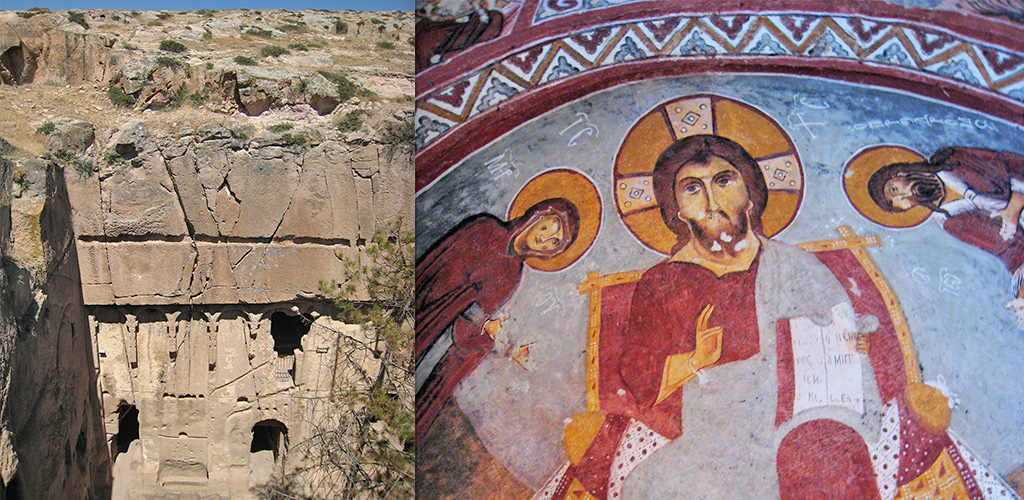 Gümüsler rotskerk in Nigde Cappadocië