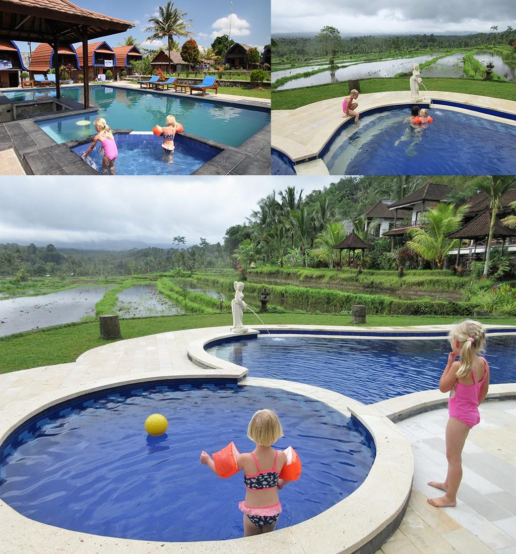 Indonesië met kinderen - zwemmen tussen rijstvelden