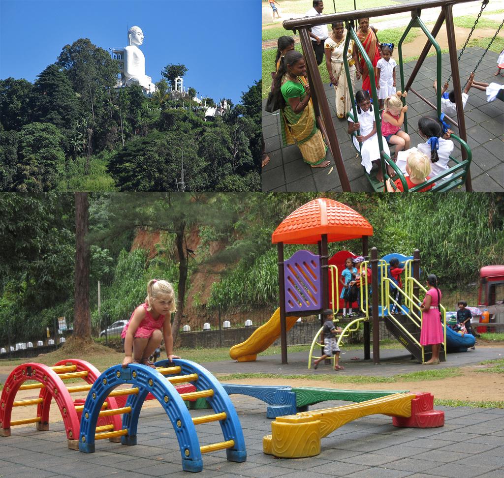 Kandy speeltuin en Bahiravokanda Vihara Buddha