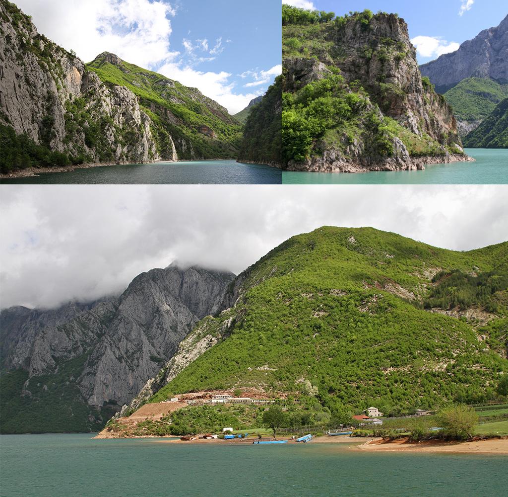 Lake Koman Ferry - verschillende kleuren blauw en groen