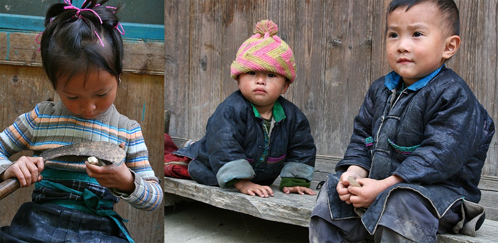 Kinderen in Miao en Dong dorpjes in China