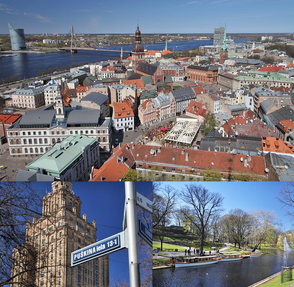 Riga vanuit de lucht of vanaf het water