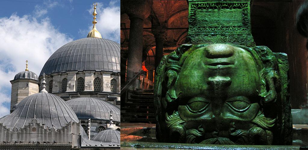 Suleyman moskee en Basilica Cisterne