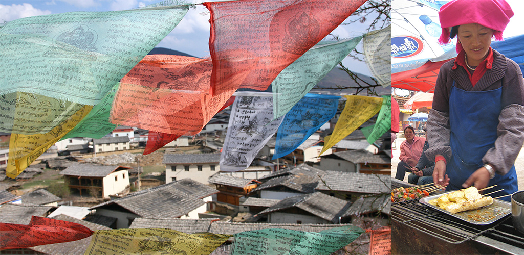 Tempel en nightmarket Zhongdian Shangri-La