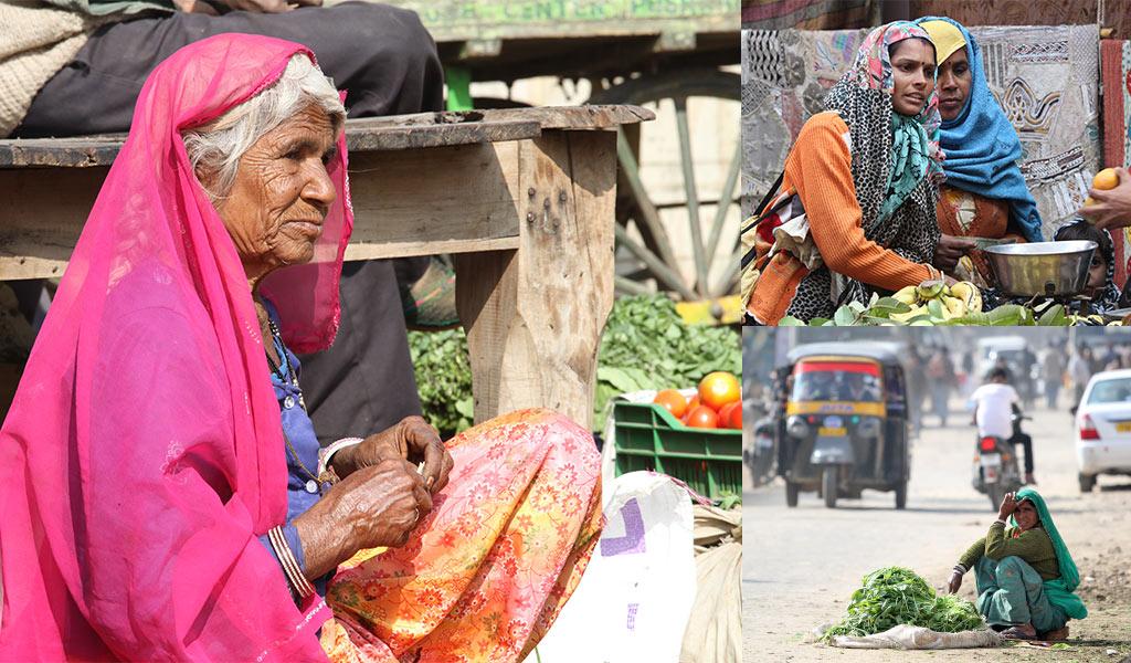 Vrouwen op de markt in India