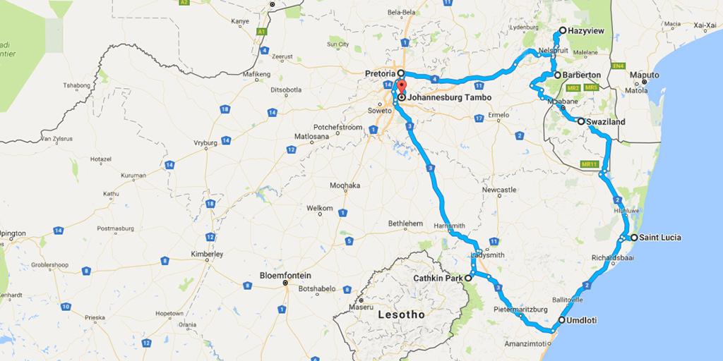 Zuid-Afrika route vanaf Johannesburg kaart