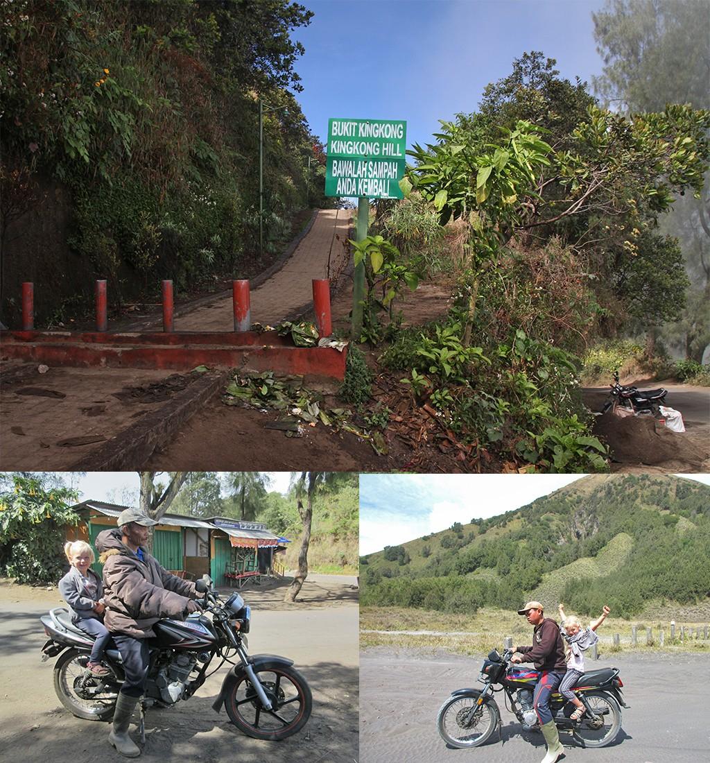 achterop de motor naar Bromo vanaf King Kong hill