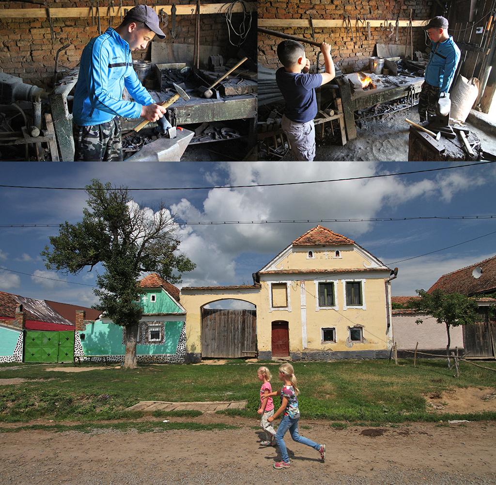 ambachten en gekleurde huizen Viscri
