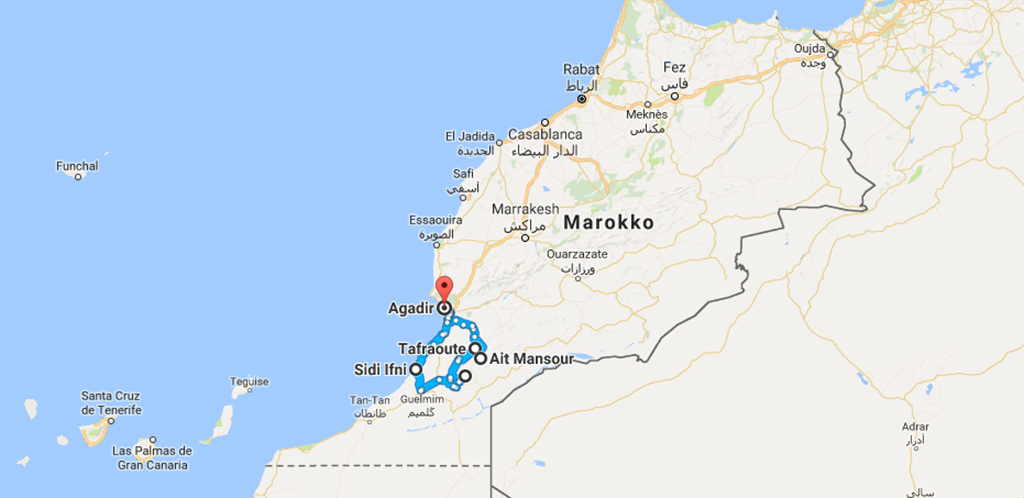 anti Atlas route uitgezoomd