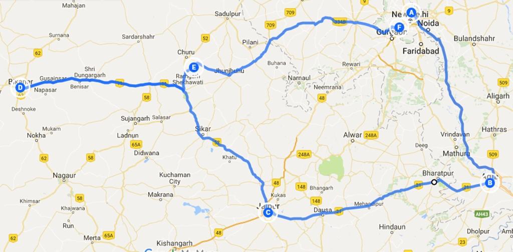 backpack route India 2 weken