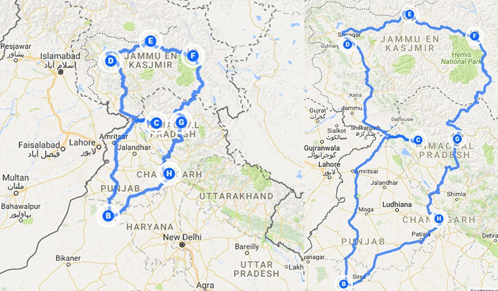 backpack route India Ladakh