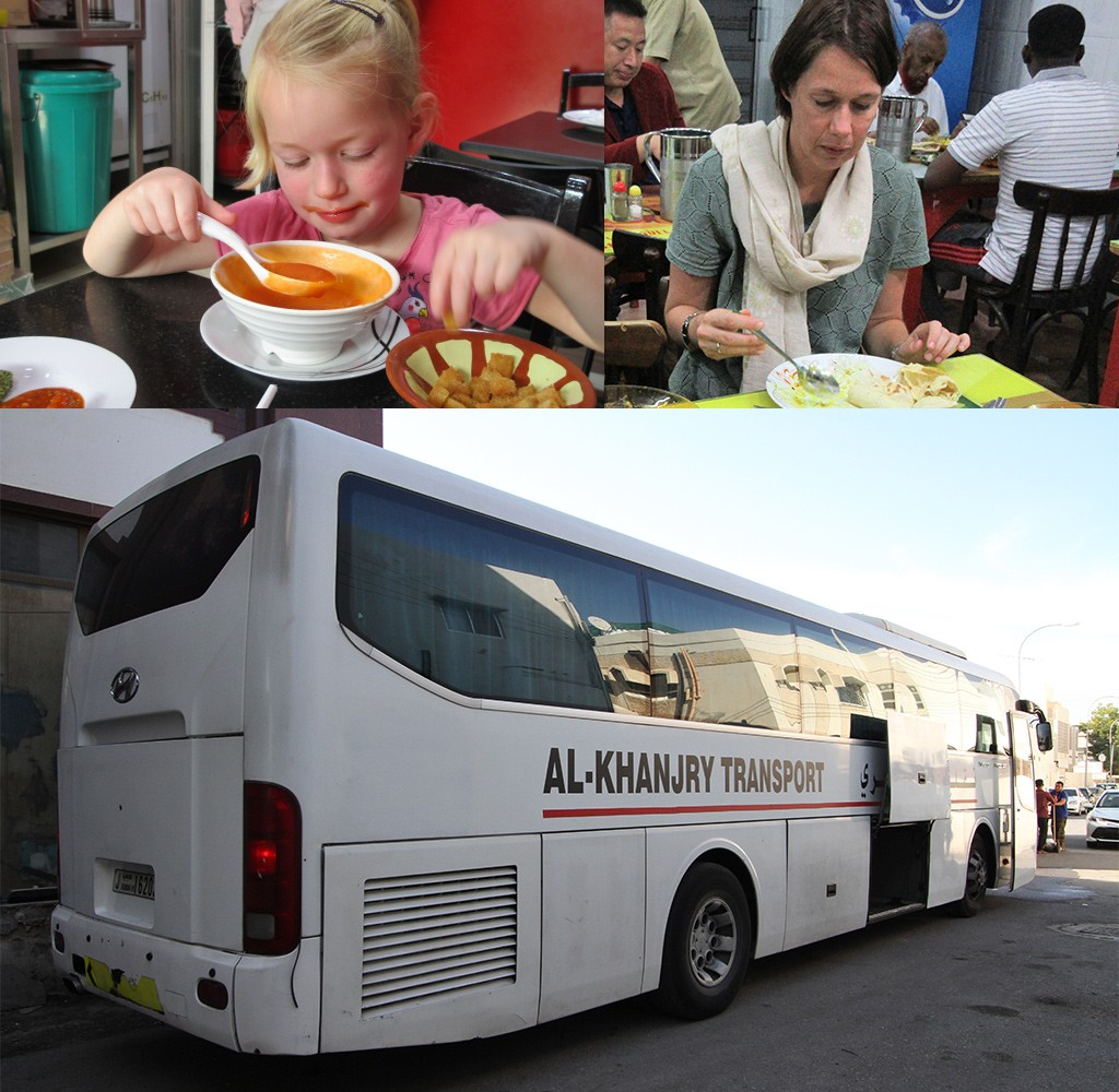 bus Dubai Muscat restaurantjes