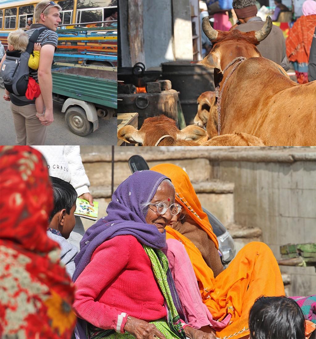 chaos buiten in India met baby