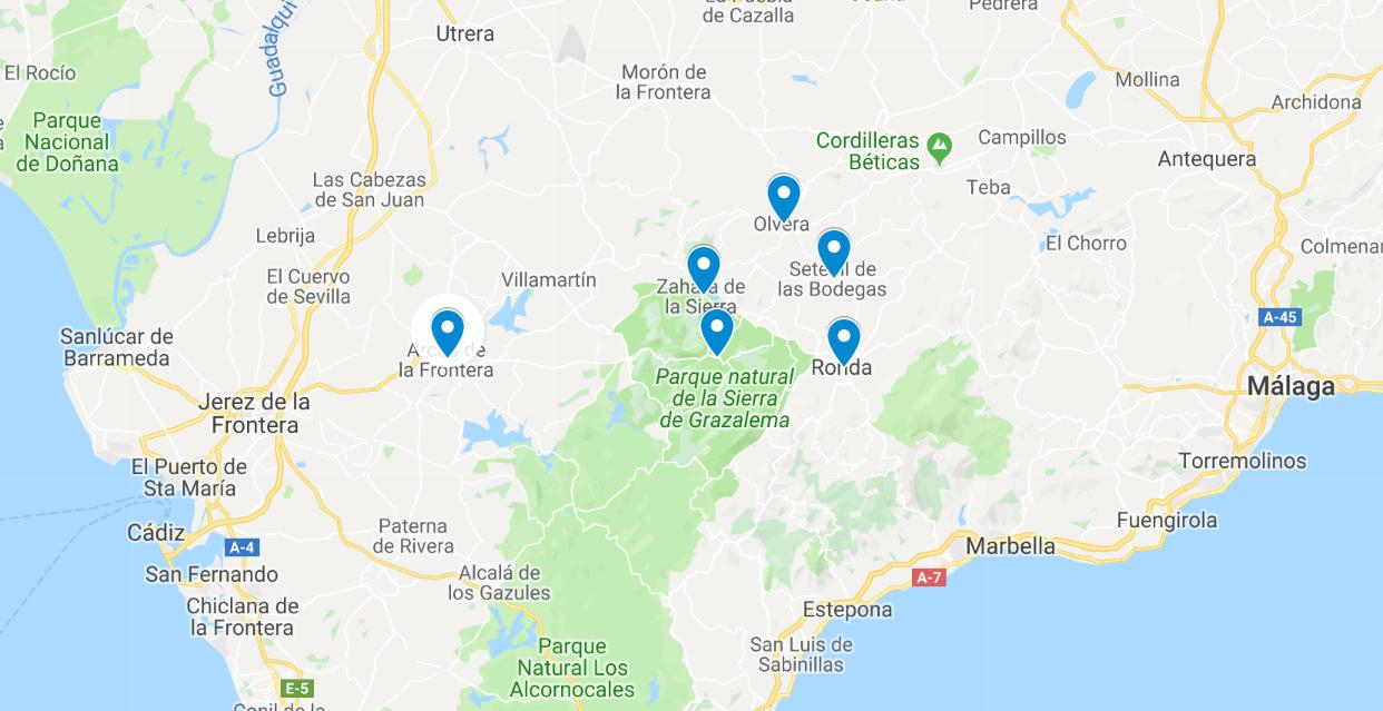 de charmantste witte dorpjes van Andalusië kaart