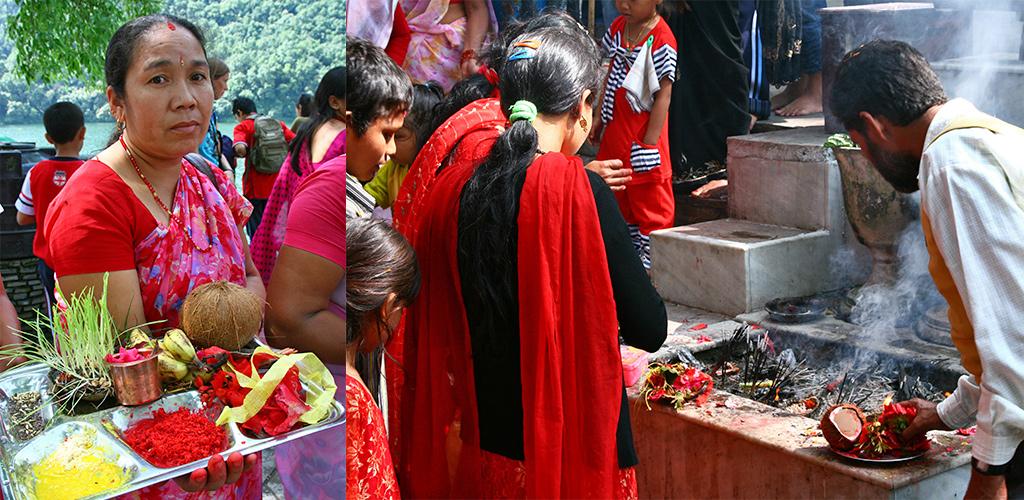 drukte bij Varahi Mandir tempel Pokhara