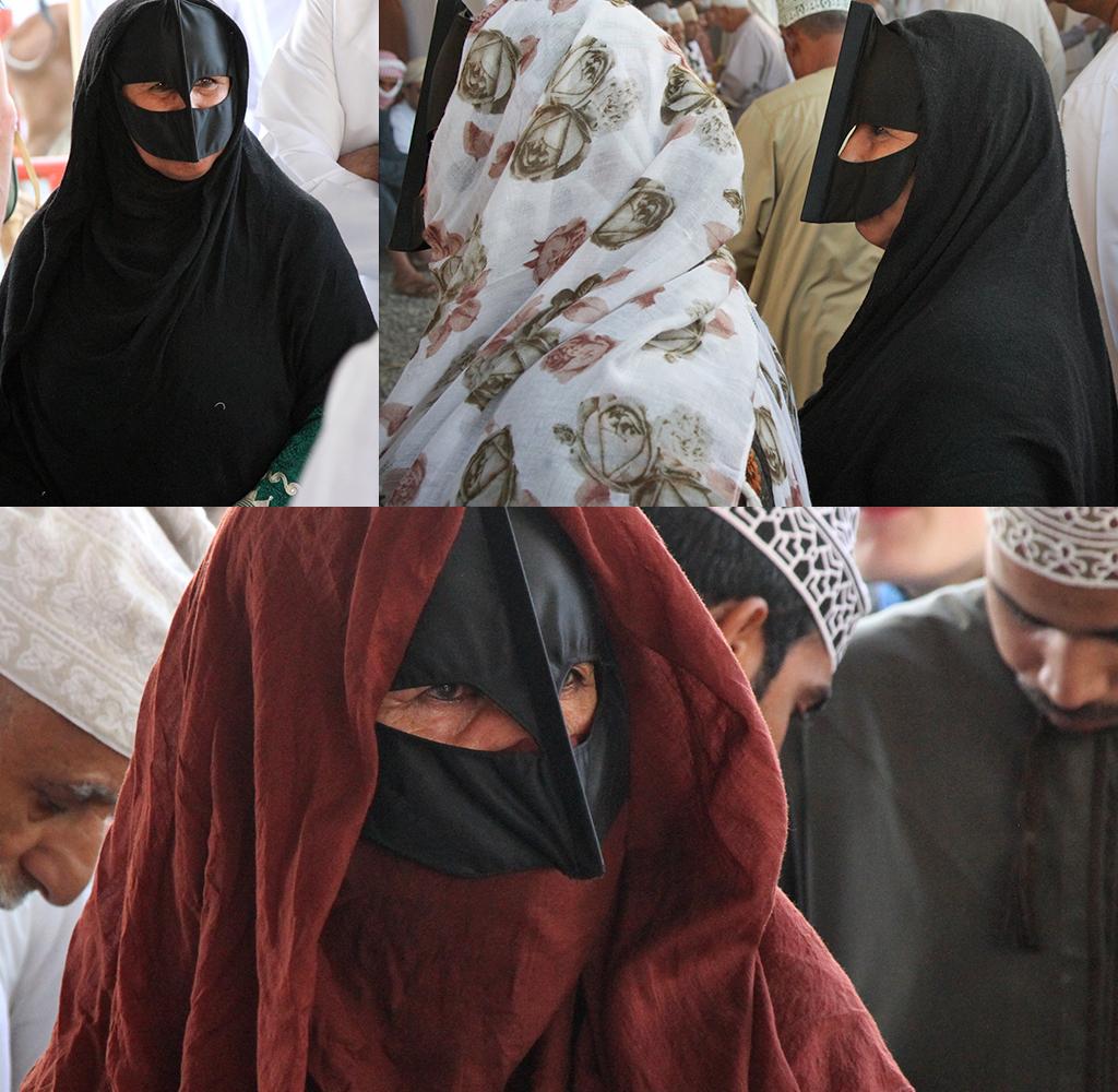 geitenmarkt Nizwa - vrouwen met gezichtsmasker