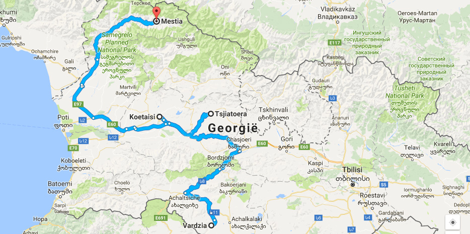 Kaart Georgië route Kutaisi