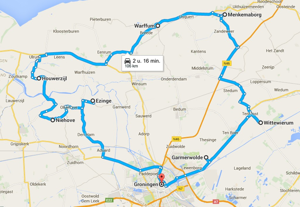 kaart route Groningen