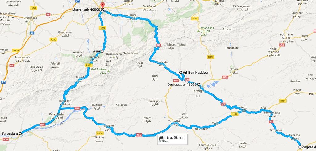 kaart Autorondreis Marokko