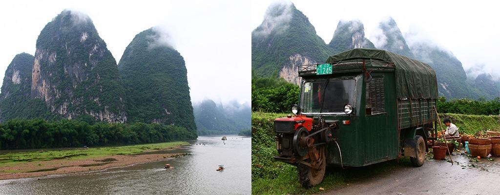 karstbergen in Xingping aan de Li rivier