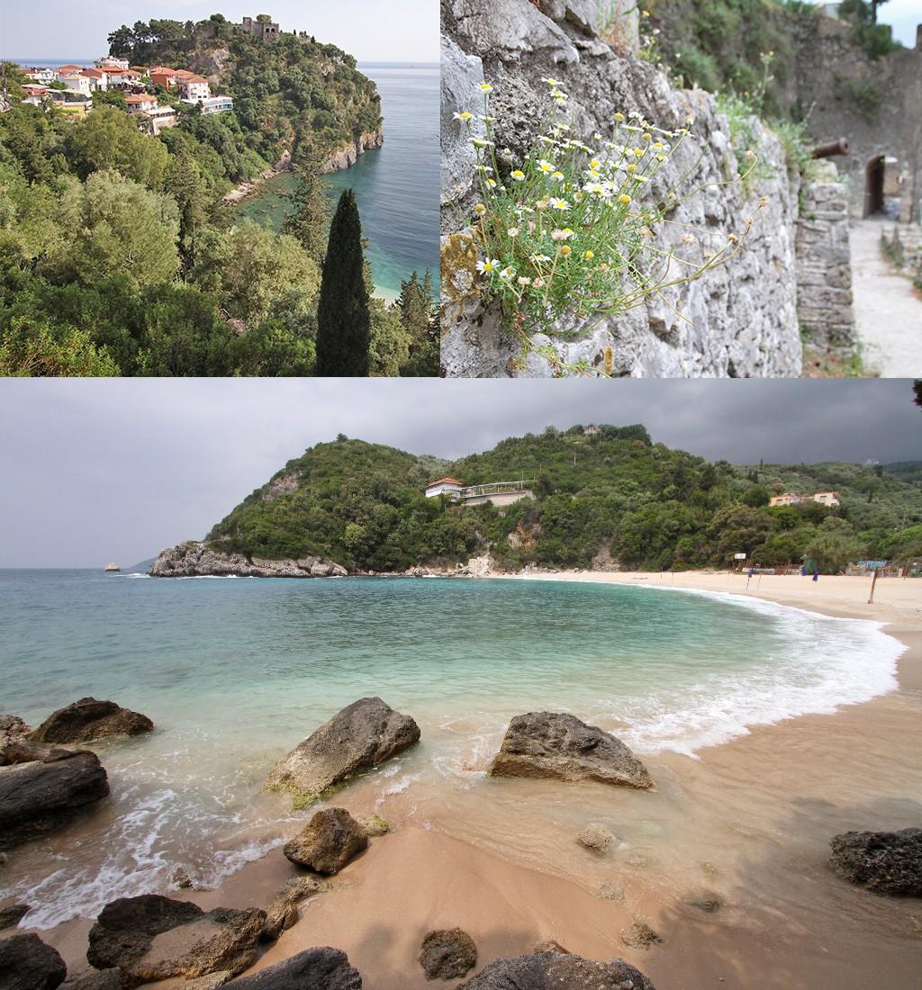 kasteel en strand Parga