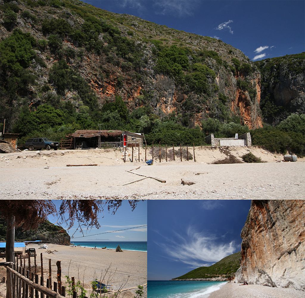 kloof barretjes en blauwe zee bij Gjipe beach