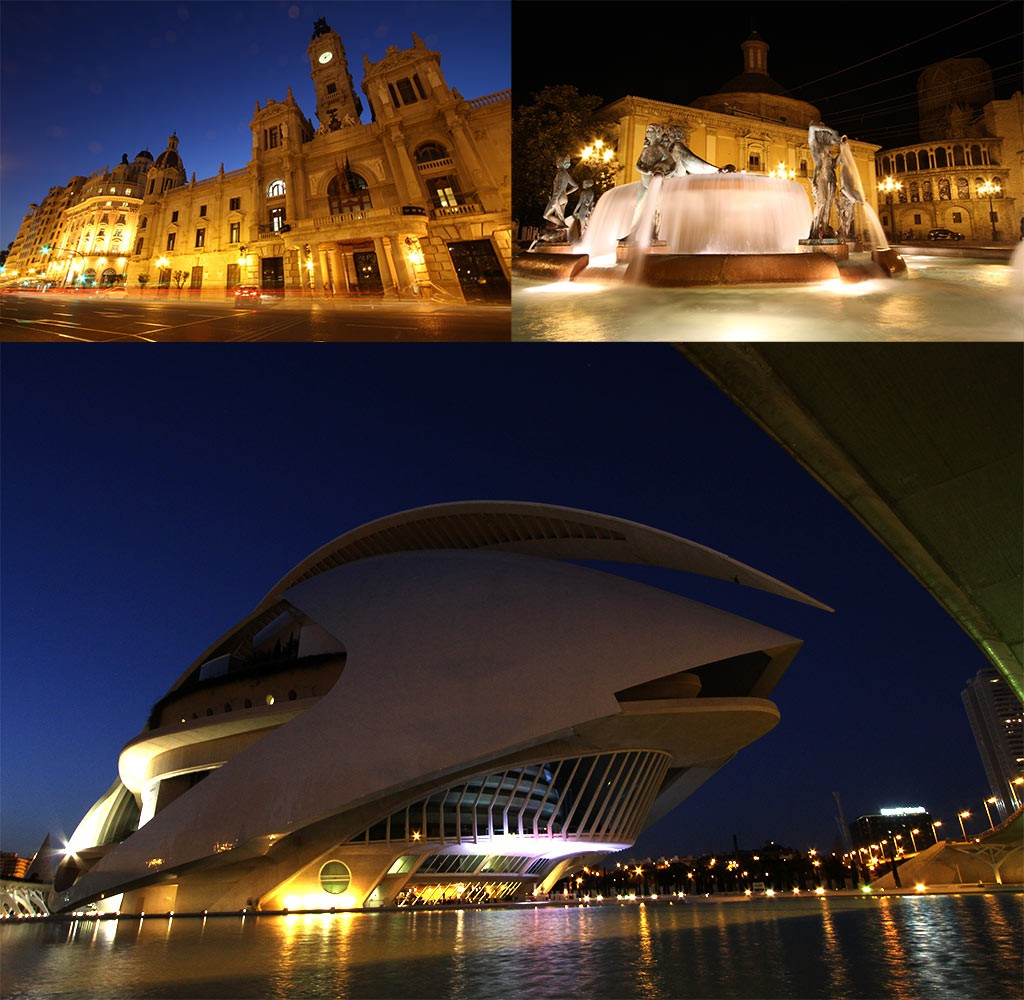 Verlichte gebouwen in Valencia in de winter
