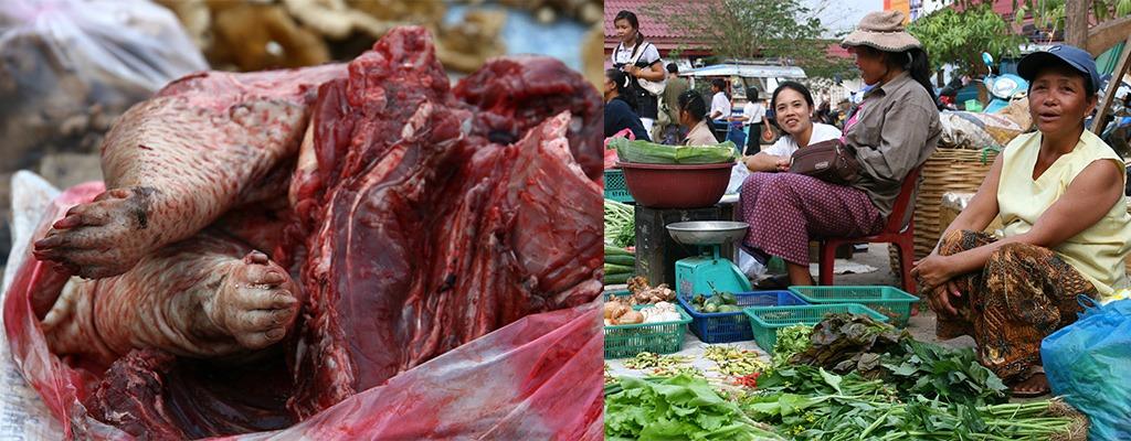de markt in Sekong, Zuid Laos