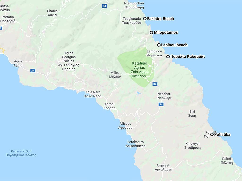 mooiste stranden Pilion op de kaart