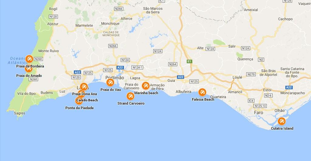 mooiste stranden Algarve kaart