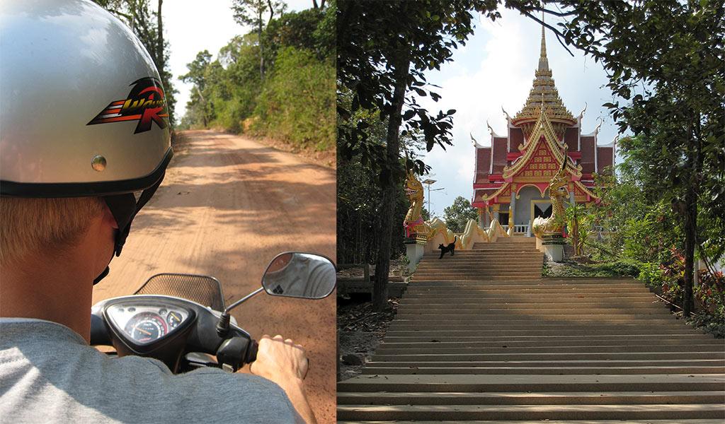 Op de scooter door de heuvels aan de Mekong