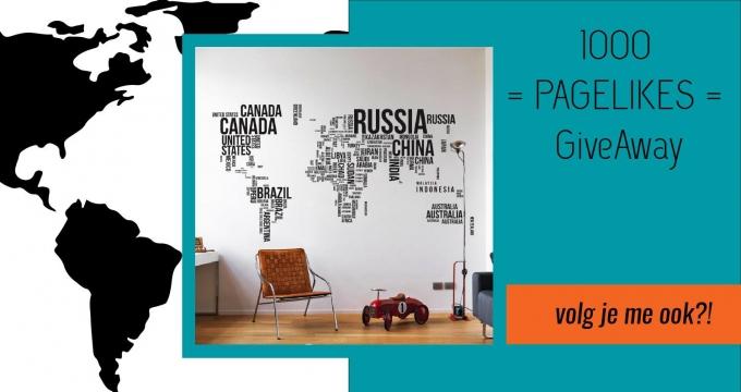 muursticker wereldkaart winactie