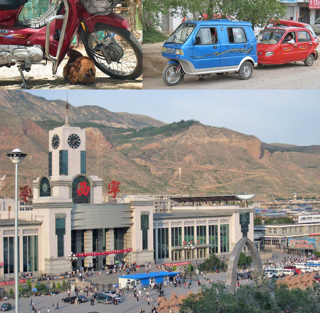 onderweg naar de trein naar Jiayuguan