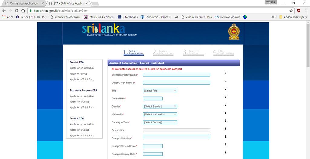 online visum Sri Lanka