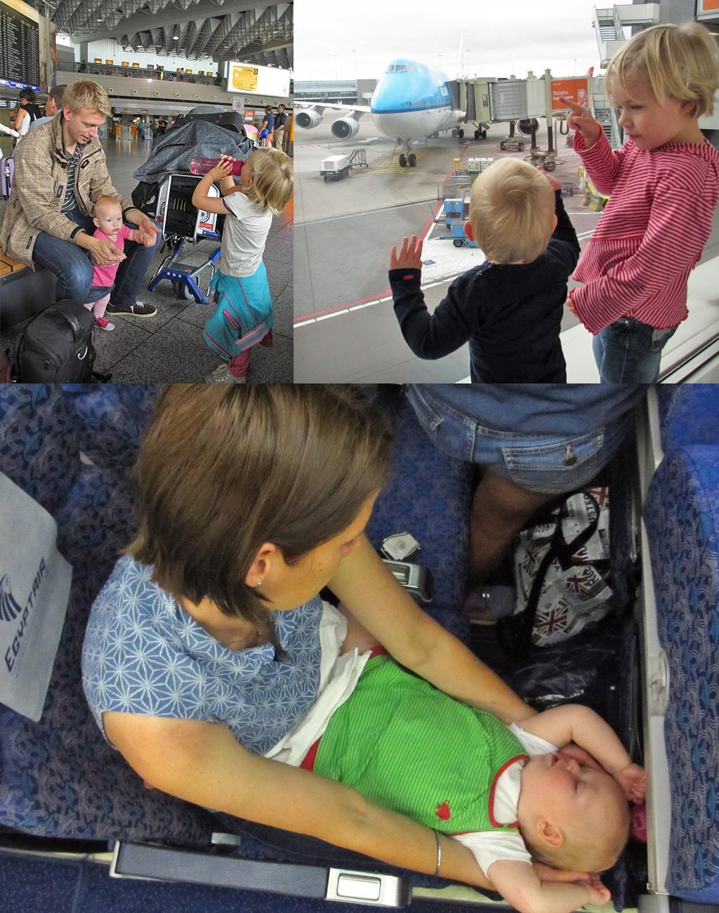 op reis met baby en peuter in vliegtuig