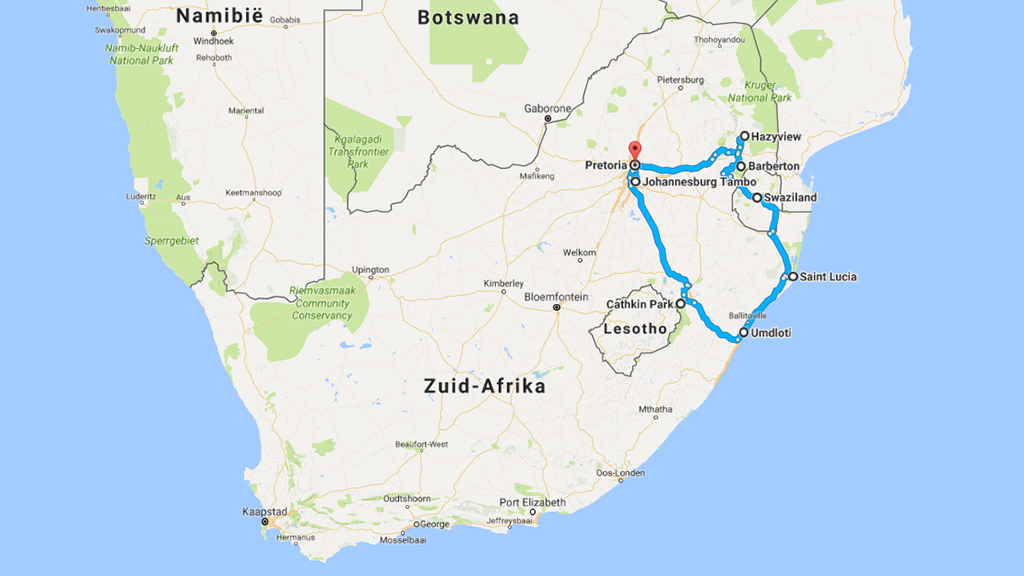 Zuid-Afrika route vanaf Johannesburg