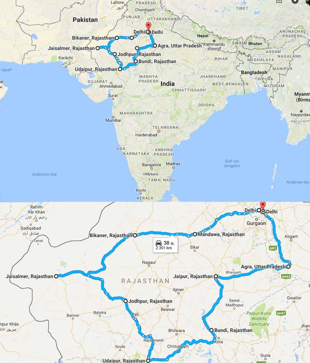 Rajasthan route kaart