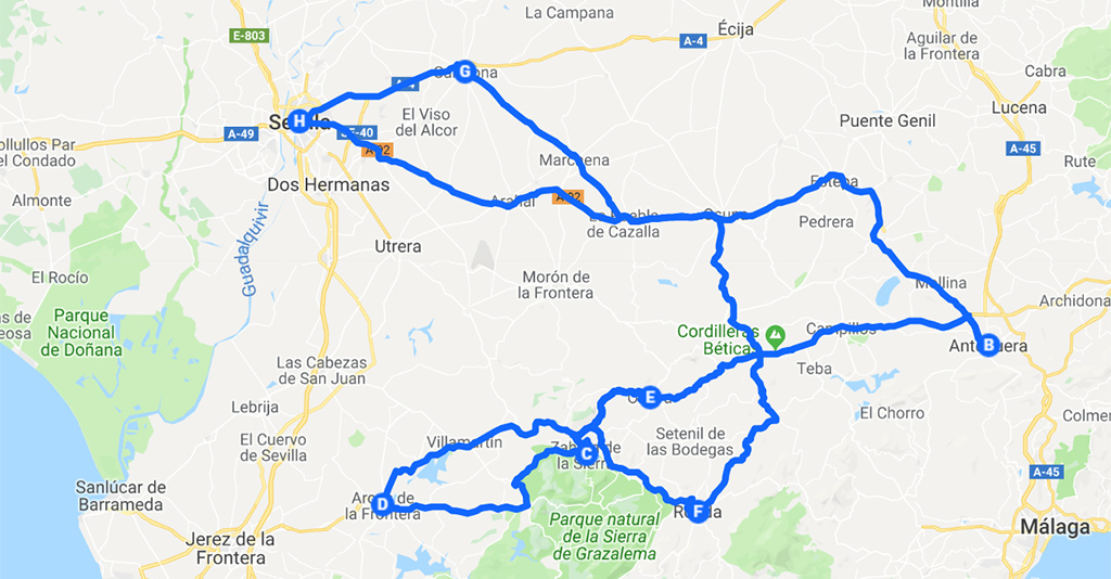 roadtrip Andalusië route 1 week west