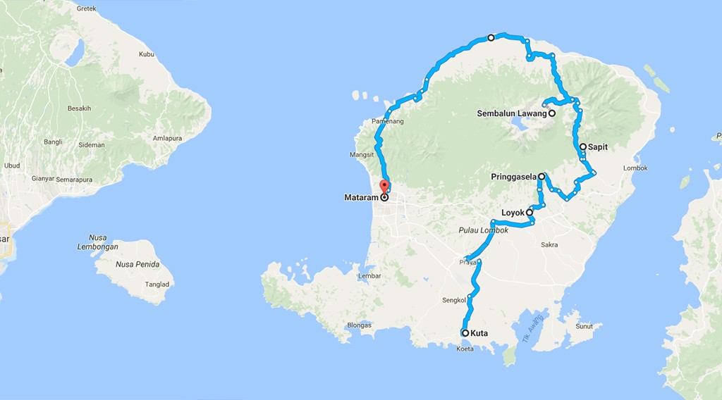 route Lombok